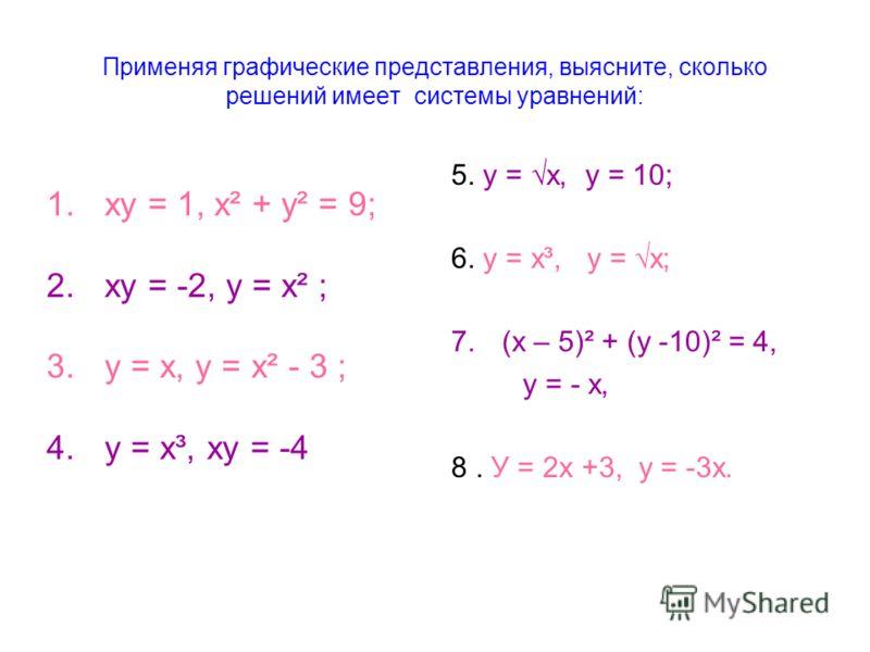 Применяя графические представления, выясните, сколько решений имеет системы уравнений: 5. у = х, у = 10; 6. у = х³, у = х; 7.(х – 5)² + (у -10)² = 4, у = - х, 8. У = 2х +3, у = -3х. 1.ху = 1, х² + у² = 9; 2.ху = -2, у = х² ; 3.у = х, у = х² - 3 ; 4.у