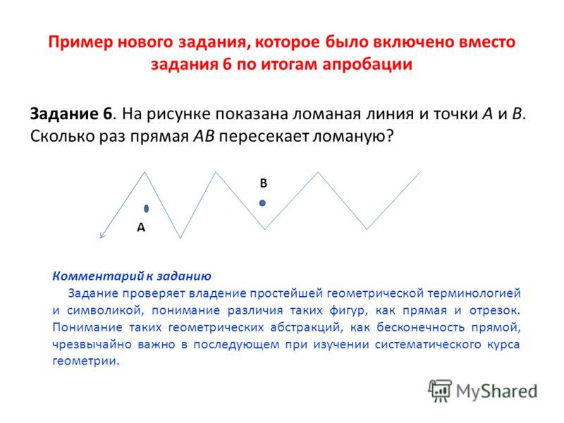 Пример нового задания, которое было включено вместо задания 6 по итогам апробации Задание 6. На рисунке показана ломаная линия и точки А и В. Сколько раз прямая АВ пересекает ломаную? А В Комментарий к заданию Задание проверяет владение простейшей ге