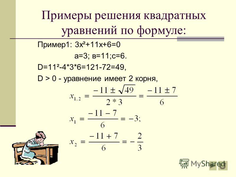 Алгоритм решения квадратного уравнения: ах²+вх+с=0 Определить коэффициенты а, в, с Если D0, то 1 корень Уравнение не имеет корней