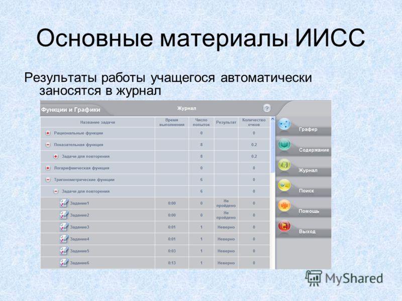 Основные материалы ИИСС Результаты работы учащегося автоматически заносятся в журнал