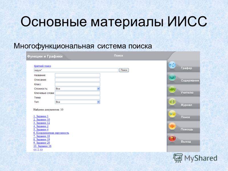 Основные материалы ИИСС Многофункциональная система поиска