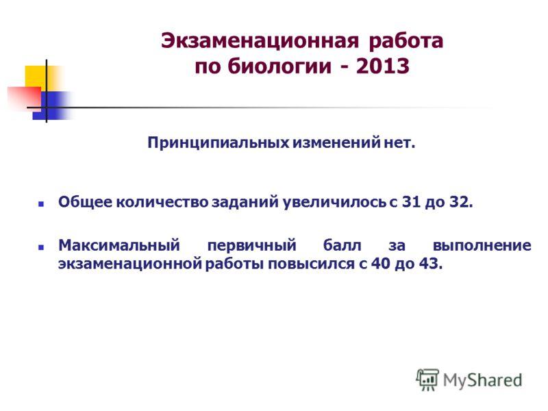 Экзаменационная работа по биологии - 2013 Принципиальных изменений нет. Общее количество заданий увеличилось с 31 до 32. Максимальный первичный балл за выполнение экзаменационной работы повысился с 40 до 43.