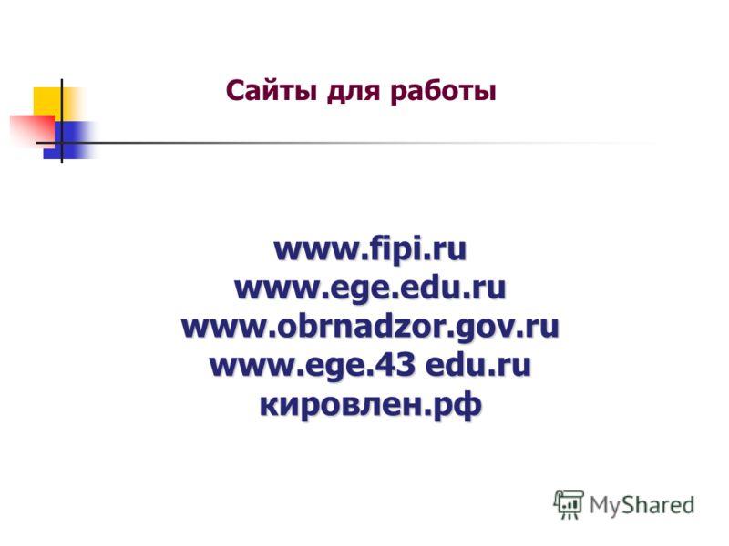 www.fipi.ru www.ege.edu.ru www.obrnadzor.gov.ru www.ege.43 edu.ru кировлен.рф Сайты для работы