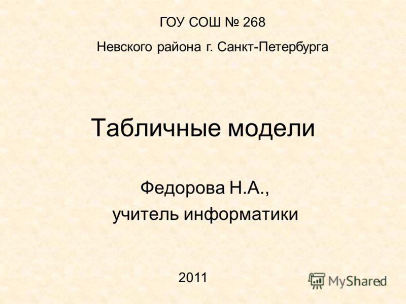 1 Табличные модели Федорова Н.А., учитель информатики ГОУ СОШ 268 Невского района г. Санкт-Петербурга 2011