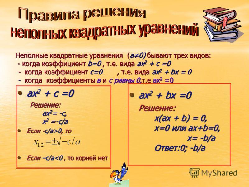 Имеет ли уравнение корни? 1.х 2 -5х+4=0; (СВ) х 2 + 2х3 +14 = -4х 1.х 2 -5х+4=0; (СВ) х 2 + 2х3 +14 = -4х 2.5х 2 -4х-1=0; 2.5х 2 -4х-1=0; 1.4х 2 =4х-1; 1.4х 2 =4х-1; 2.-3х-1=6х 2 2.-3х-1=6х 2 Найти уравнения, не имеющие решений 1 группа 2 группа а)х