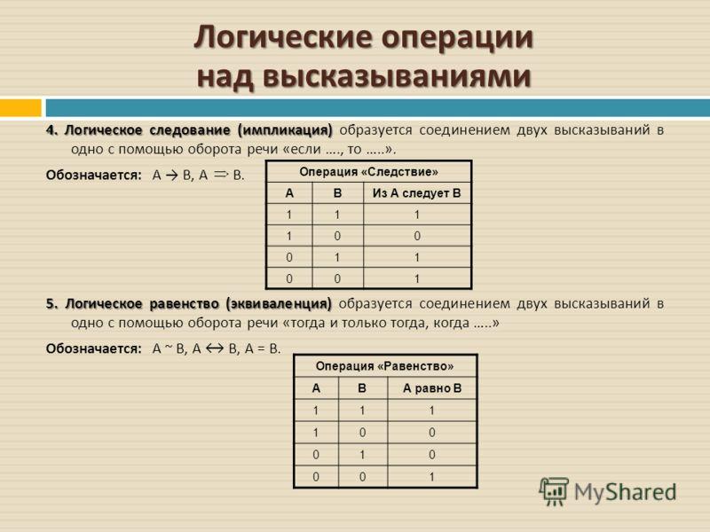Логические операции над высказываниями 4. Логическое следование ( импликация ) 4. Логическое следование ( импликация ) образуется соединением двух высказываний в одно с помощью оборота речи « если …., то …..». Обозначается : А B, А В. 5. Логическое р