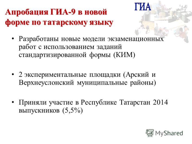 Апробация ГИА-9 в новой форме по татарскому языку Разработаны новые модели экзаменационных работ с использованием заданий стандартизированной формы (КИМ) 2 экспериментальные площадки (Арский и Верхнеуслонский муниципальные районы) Приняли участие в Р