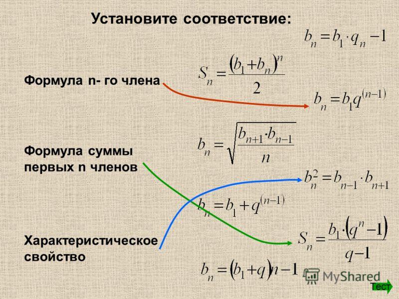 Установите соответствие: Формула n- го члена Формула суммы первых n членов Характеристическое свойство Тест