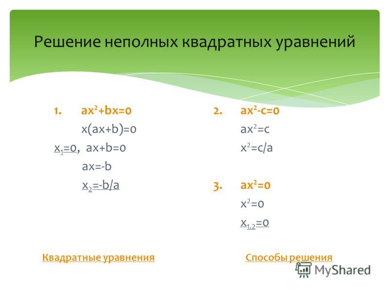 Решение неполных квадратных уравнений 1.ax 2 +bx=0 x(ax+b)=0 x 1 =0, ax+b=0 ax=-b x 2 =-b/a Квадратные уравнения 2.ax 2 -c=0 ax 2 =c x 2 =c/a 3.ax 2 =0 x 2 =0 x 1.2 =0 Способы решения