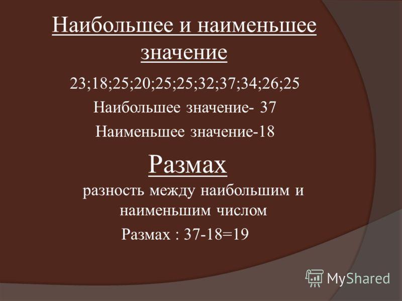 Наибольшее и наименьшее значение 23;18;25;20;25;25;32;37;34;26;25 Наибольшее значение- 37 Наименьшее значение-18 Размах разность между наибольшим и наименьшим числом Размах : 37-18=19