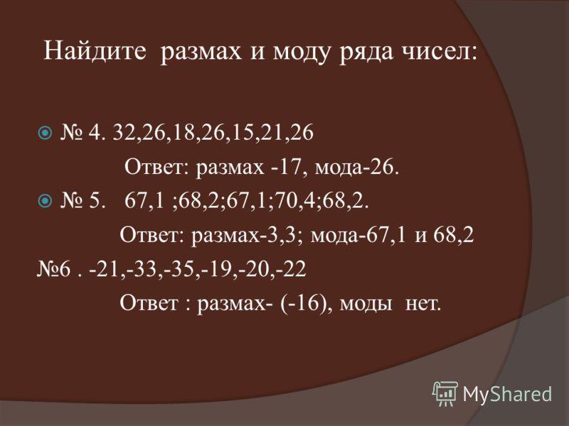 Найдите размах и моду ряда чисел: 4. 32,26,18,26,15,21,26 Ответ: размах -17, мода-26. 5. 67,1 ;68,2;67,1;70,4;68,2. Ответ: размах-3,3; мода-67,1 и 68,2 6. -21,-33,-35,-19,-20,-22 Ответ : размах- (-16), моды нет.