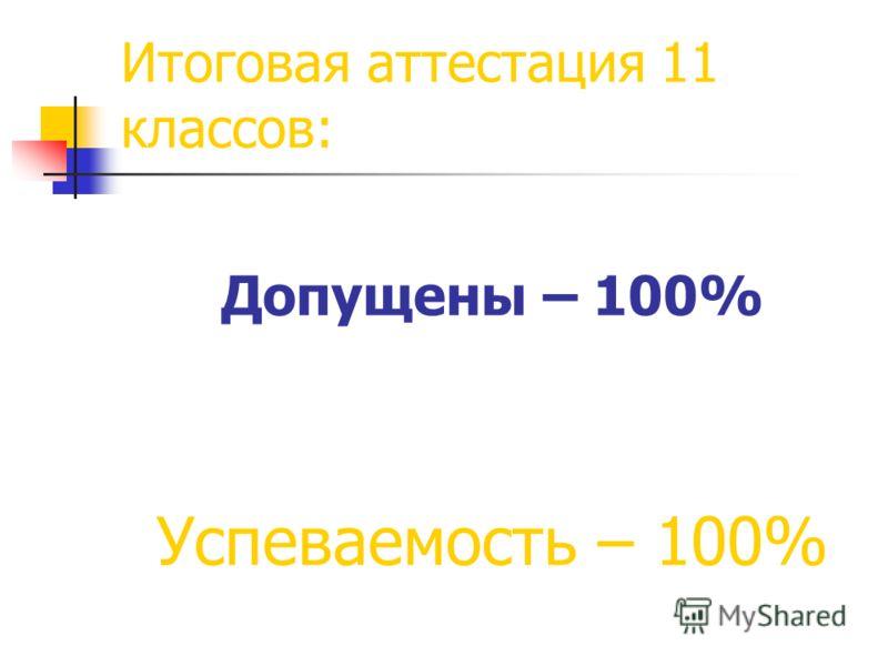 Итоговая аттестация 11 классов: Допущены – 100% Успеваемость – 100%