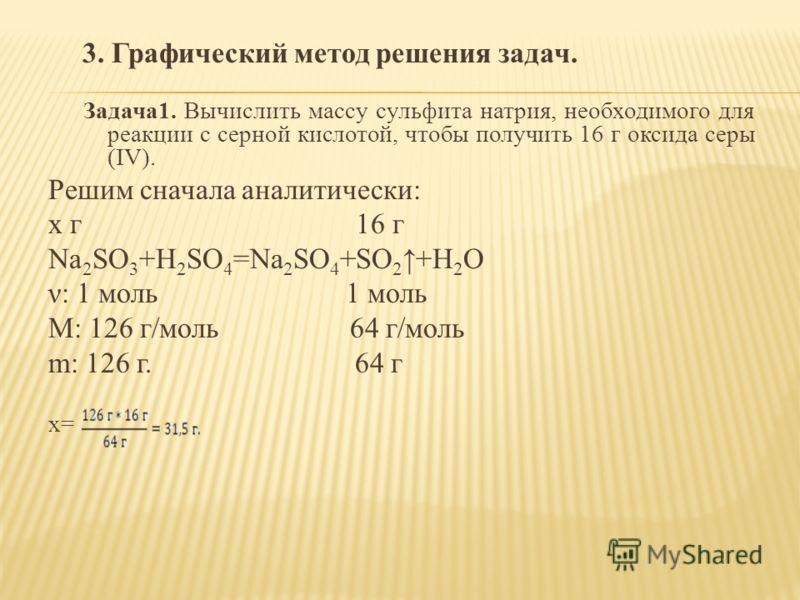 3. Графический метод решения задач. Задача1. Вычислить массу сульфита натрия, необходимого для реакции с серной кислотой, чтобы получить 16 г оксида серы (IV). Решим сначала аналитически: х г 16 г Na 2 SO 3 +H 2 SO 4 =Na 2 SO 4 +SO 2 +H 2 O ν: 1 моль