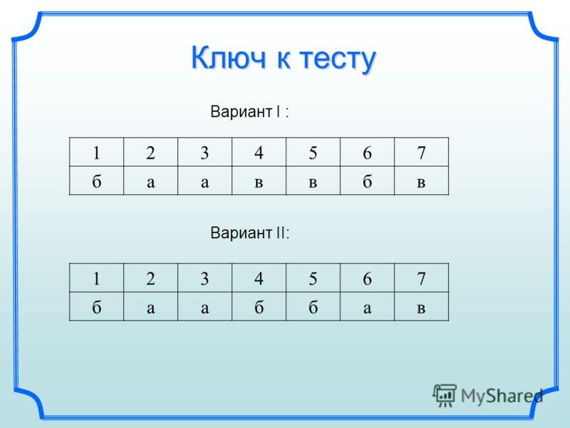 Ключ к тесту Вариант I : 1234567 бааввбв Вариант II: 1234567 бааббав