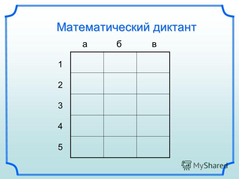 Математический диктант а б в 1234512345