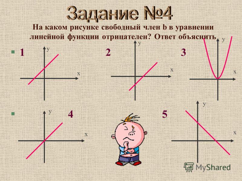 На каком рисунке свободный член b в уравнении линейной функции отрицателен? Ответ объяснить §1 2 3 § 4 5 х у х у х у х у х у