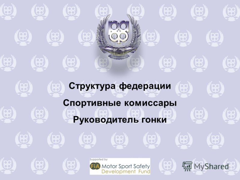 Структура федерации Спортивные комиссары Руководитель гонки