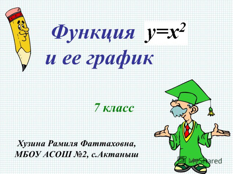 Функция и ее график 7 класс Хузина Рамиля Фаттаховна, МБОУ АСОШ 2, с.Актаныш