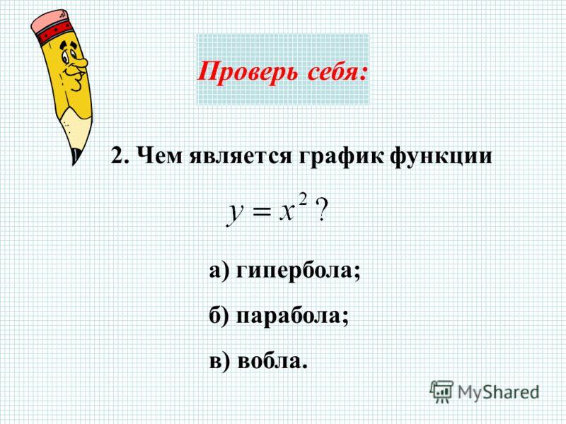 Проверь себя: 2. Чем является график функции а) гипербола; б) парабола; в) вобла.