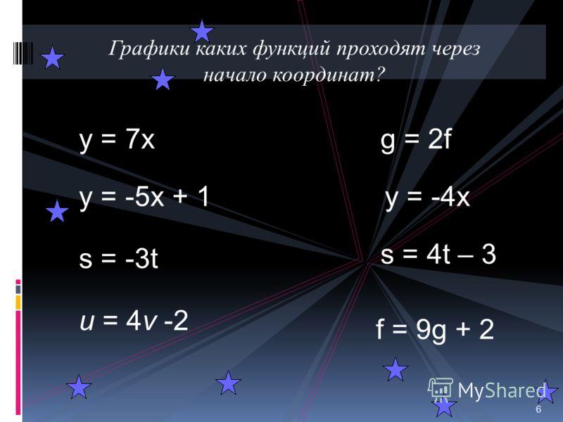 1. График какой функции лишний ? 2. На каком рисунке изображен график прямой пропорциональности ? 3. На каком рисунке у графика линейной функции отрицательный угловой коэффициент ? 4. На каком рисунке у графика линейной функции отрицательный коэффици