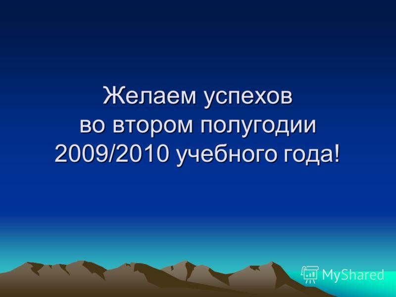 Желаем успехов во втором полугодии 2009/2010 учебного года!