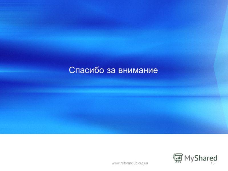 Спасибо за внимание 13www.reformclub.org.ua