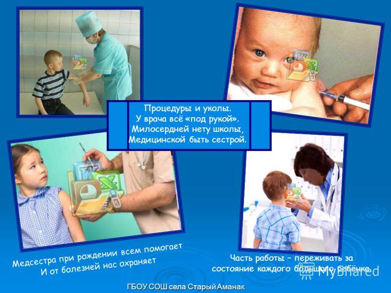 Медсестра при рождении всем помогает И от болезней нас охраняет Часть работы – переживать за состояние каждого большого ребёнка. Процедуры и уколы. У врача всё «под рукой». Милосердней нету школы, Медицинской быть сестрой.