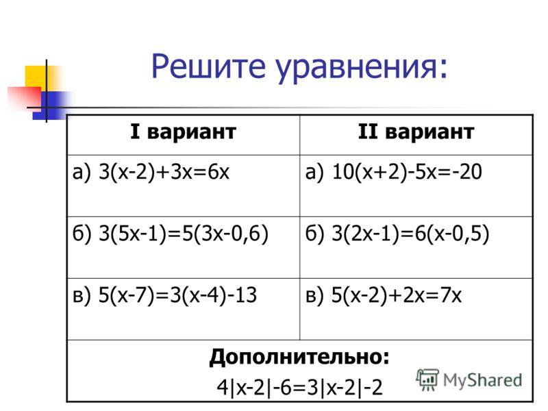 Решите уравнения: I вариантII вариант а) 3(х-2)+3х=6ха) 10(х+2)-5х=-20 б) 3(5х-1)=5(3х-0,6)б) 3(2х-1)=6(х-0,5) в) 5(х-7)=3(х-4)-13в) 5(х-2)+2х=7х Дополнительно: 4|x-2|-6=3|x-2|-2