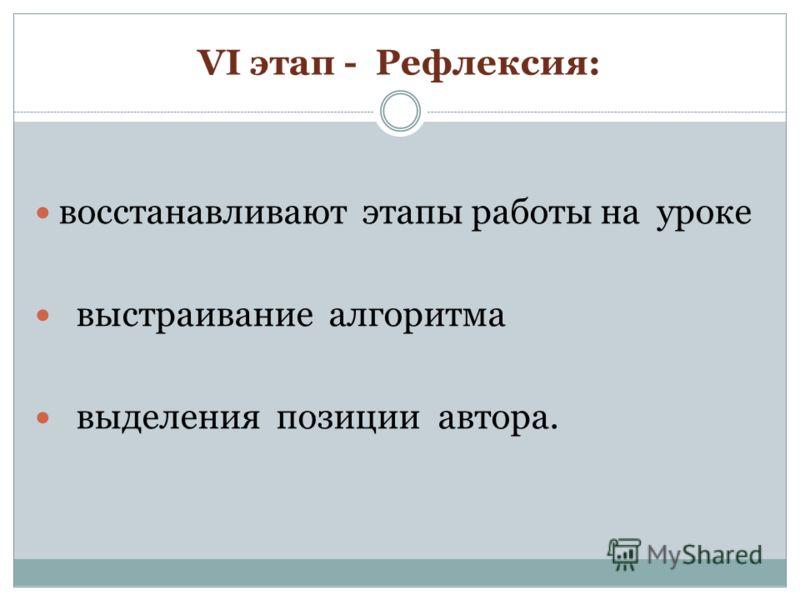 VI этап - Рефлексия: восстанавливают этапы работы на уроке выстраивание алгоритма выделения позиции автора.
