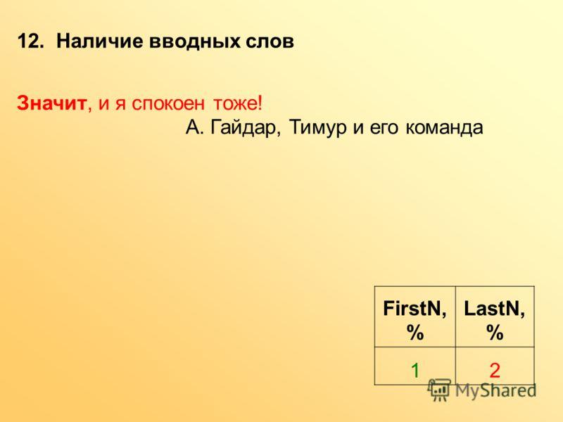 12. Наличие вводных слов FirstN, % LastN, % 12 Значит, и я спокоен тоже! А. Гайдар, Тимур и его команда