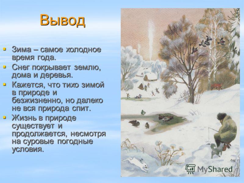 Вывод Вывод Зима – самое холодное время года. Зима – самое холодное время года. Снег покрывает землю, дома и деревья. Снег покрывает землю, дома и дер