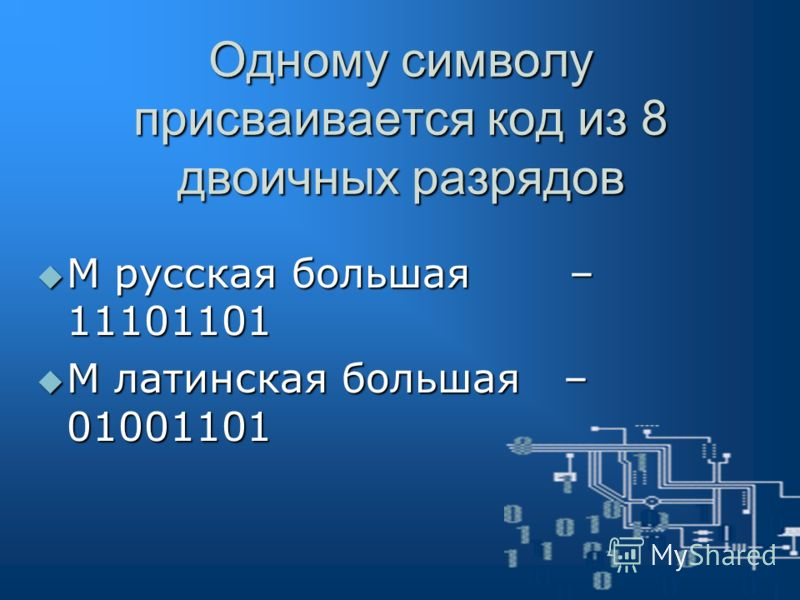 Слово «МИР» кодируется последовательностью из 24 бит: 111011011110100111110010 Задание: Закодируйте с помощью кодовой таблицы свое собственное имя