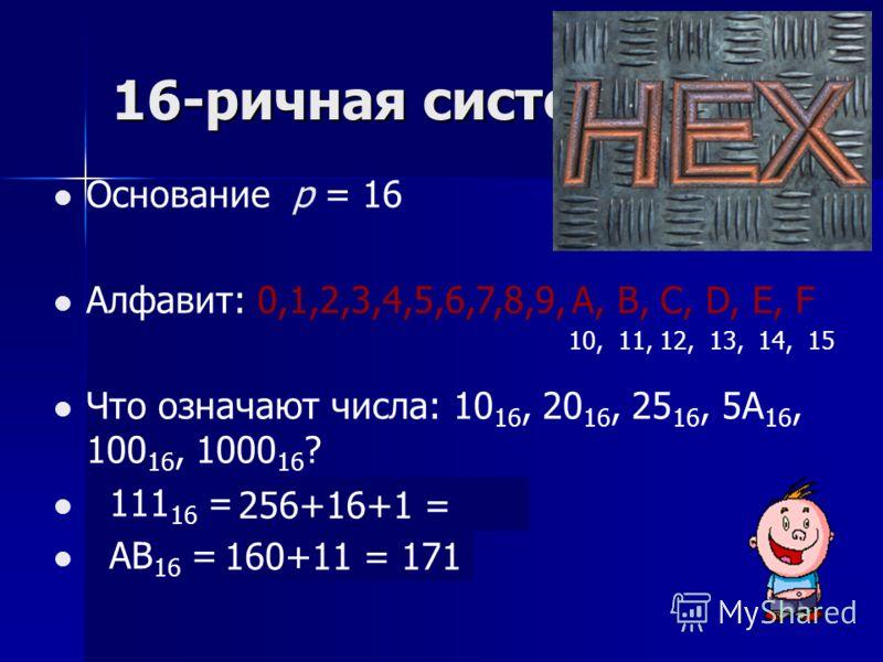 16-ричная система Основание р = 16 Алфавит: 0,1,2,3,4,5,6,7,8,9, Что означают числа: 10 16, 20 16, 25 16, 5A 16, 100 16, 1000 16 ? 111 16 = ? AB 16 = ? A, B, C, D, E, F 10, 11, 12, 13, 14, 15 256+16+1 = 273 160+11 = 171