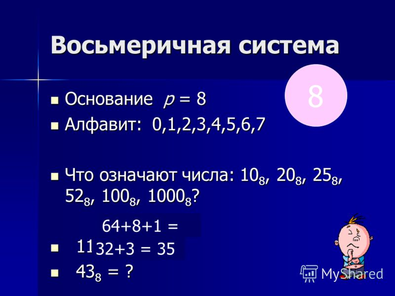 Восьмеричная система Основание р = 8 Основание р = 8 Алфавит: 0,1,2,3,4,5,6,7 Алфавит: 0,1,2,3,4,5,6,7 Что означают числа: 10 8, 20 8, 25 8, 52 8, 100 8, 1000 8 ? Что означают числа: 10 8, 20 8, 25 8, 52 8, 100 8, 1000 8 ? 111 8 = ? 111 8 = ? 43 8 =