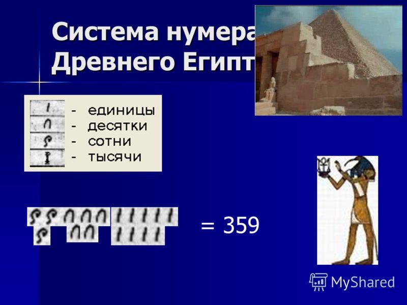 Система нумерации Древнего Египта = 359