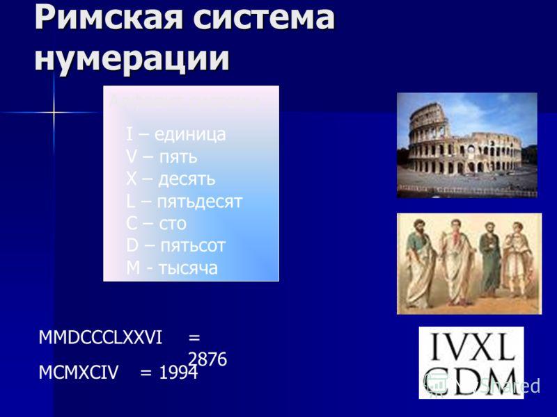 Римская система нумерации Алфавит системы I – единица V – пять X – десять L – пятьдесят C – сто D – пятьсот M - тысяча MMDCCCLXXVI MCMXCIV = 2876 = 1994