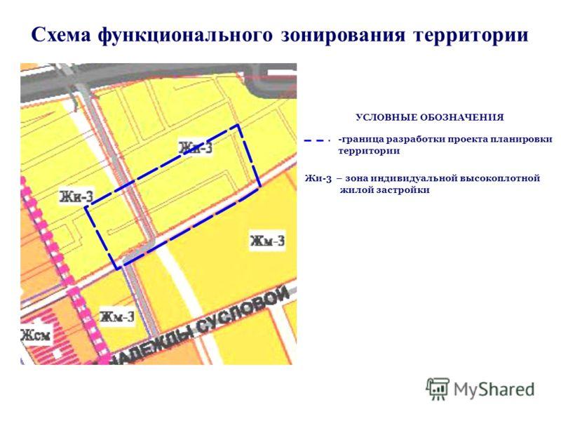 Схема функционального зонирования территории -граница разработки проекта планировки территории Жи-3 – зона индивидуальной высокоплотной жилой застройки УСЛОВНЫЕ ОБОЗНАЧЕНИЯ