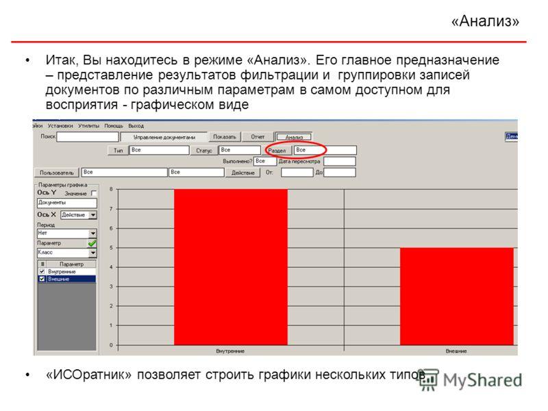 «Анализ» Итак, Вы находитесь в режиме «Анализ». Его главное предназначение – представление результатов фильтрации и группировки записей документов по различным параметрам в самом доступном для восприятия - графическом виде «ИСОратник» позволяет строи