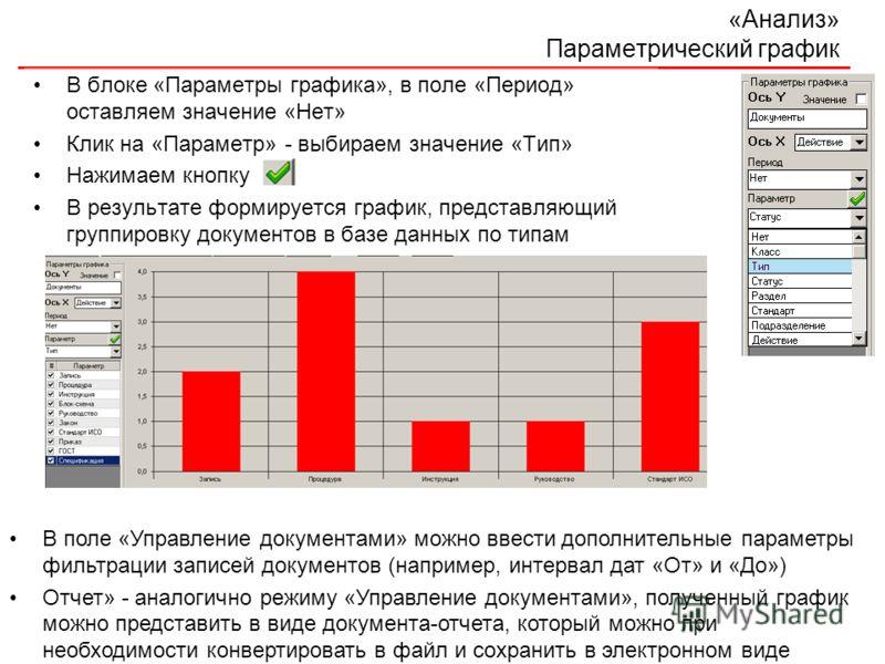 «Анализ» Параметрический график В блоке «Параметры графика», в поле «Период» оставляем значение «Нет» Клик на «Параметр» - выбираем значение «Тип» Нажимаем кнопку В результате формируется график, представляющий группировку документов в базе данных по