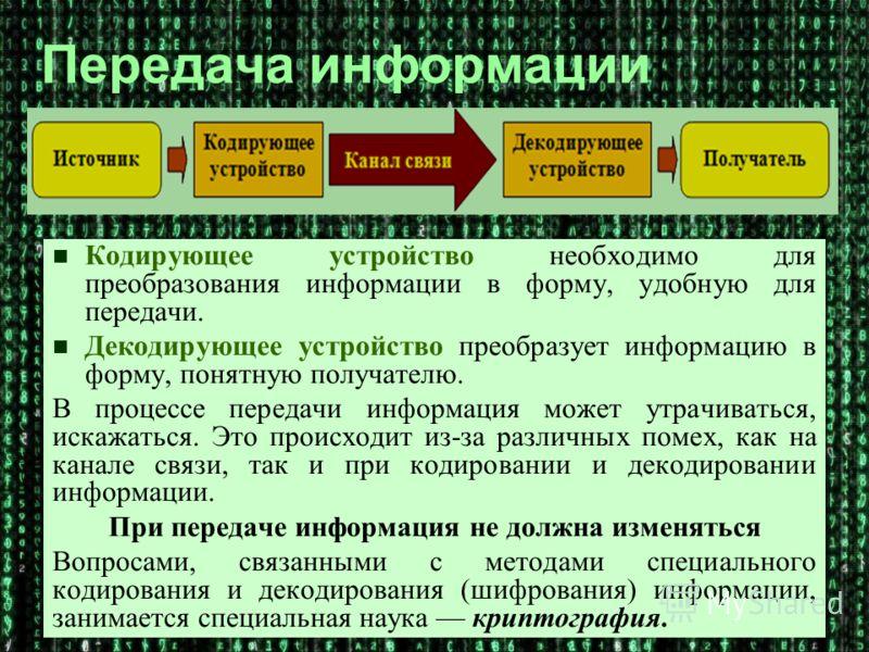 Кодирующее устройство необходимо для преобразования информации в форму, удобную для передачи. Декодирующее устройство преобразует информацию в форму, понятную получателю. В процессе передачи информация может утрачиваться, искажаться. Это происходит и