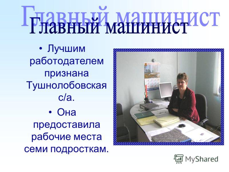 Лучшим работодателем признана Тушнолобовская с/а. Она предоставила рабочие места семи подросткам.