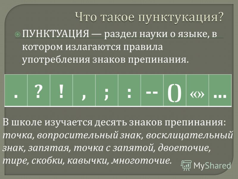 ПУНКТУАЦИЯ раздел науки о языке, в котором излагаются правила употребления знаков препинания..?!,;:--() «»... В школе изучается десять знаков препинания: точка, вопросительный знак, восклицательный знак, запятая, точка с запятой, двоеточие, тире, ско