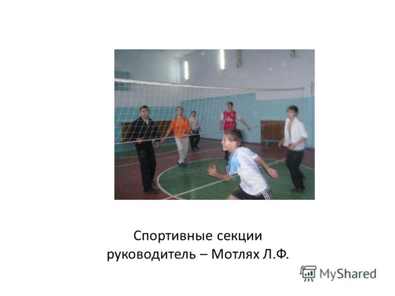 Спортивные секции руководитель – Мотлях Л.Ф.