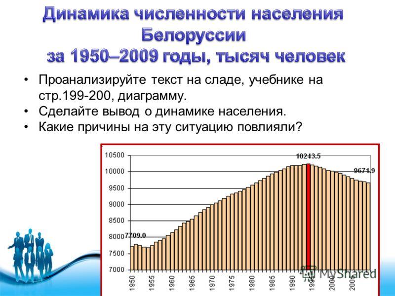 Free Powerpoint Templates Page 4 Проанализируйте текст на сладе, учебнике на стр.199-200, диаграмму. Сделайте вывод о динамике населения. Какие причины на эту ситуацию повлияли?