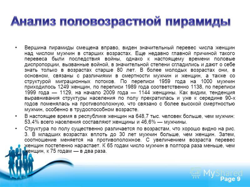 Free Powerpoint Templates Page 9 Вершина пирамиды смещена вправо, виден значительный перевес числа женщин над числом мужчин в старших возрастах. Еще недавно главной причиной такого перевеса были последствия войны, однако к настоящему времени половые
