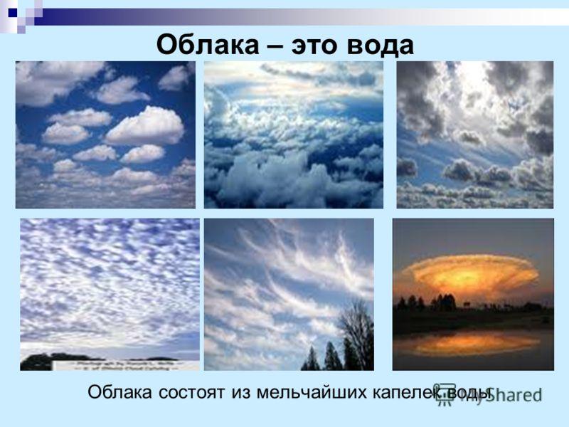 Облака – это вода Облака состоят из мельчайших капелек воды
