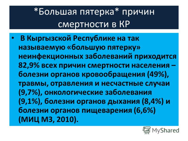 *Большая пятерка* причин смертности в КР В Кыргызской Республике на так называемую «большую пятерку» неинфекционных заболеваний приходится 82,9% всех причин смертности населения – болезни органов кровообращения (49%), травмы, отравления и несчастные