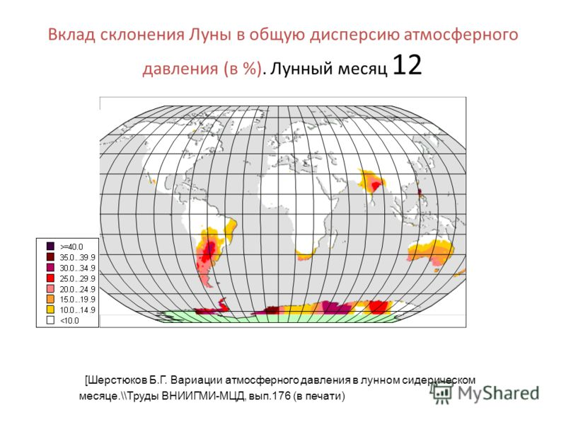 Вклад склонения Луны в общую дисперсию атмосферного давления (в %). Лунный месяц 12 [Шерстюков Б.Г. Вариации атмосферного давления в лунном сидерическом месяце.\\Труды ВНИИГМИ-МЦД, вып.176 (в печати)