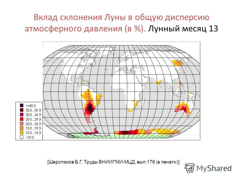 Вклад склонения Луны в общую дисперсию атмосферного давления (в %). Лунный месяц 13 [Шерстюков Б.Г. Труды ВНИИГМИ-МЦД, вып.176 (в печати)]