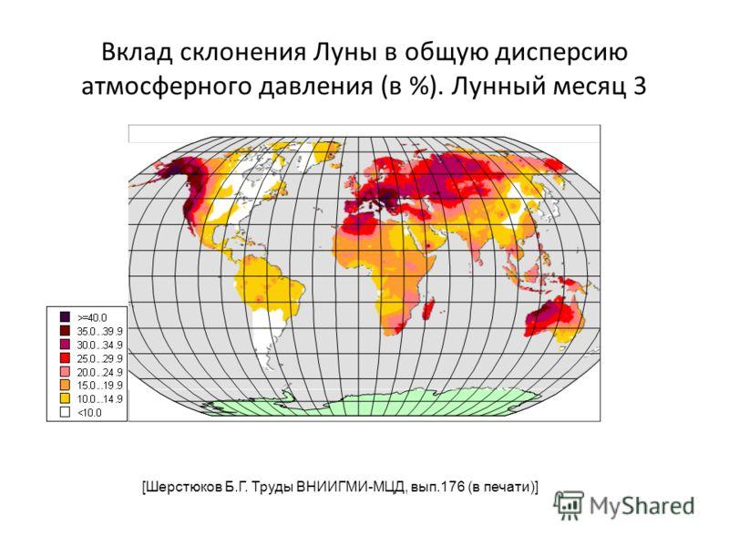 Вклад склонения Луны в общую дисперсию атмосферного давления (в %). Лунный месяц 3 [Шерстюков Б.Г. Труды ВНИИГМИ-МЦД, вып.176 (в печати)]
